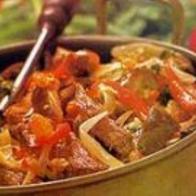 Coxão mole com berinjela e pimentão