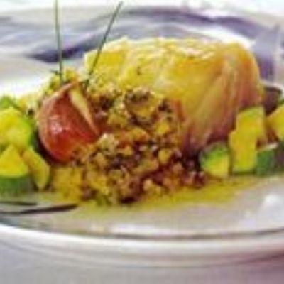 Bacalhau em azeite e vinagrete de grão-de-bico