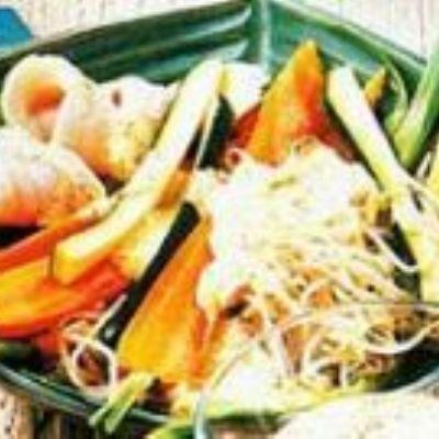 Linguado com legumes ao molho de mostarda