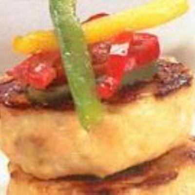 Hambúrguer de peru com molho agridoce